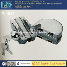 Mitad redondo de acero inoxidable de fabricación de latón de bloqueo de núcleo doble puerta de vidrio de doble cabeza de bloqueo