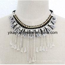 Леди мода костюм ювелирные изделия Белый Кристалл ожерелье (JE0197)