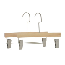 High Quality No Paint Men wooden pants hanger OEM With Clips For Adult