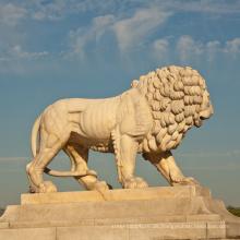Landschaftsbau hochwertige Dekoration Marmor Löwen Statuen Lebensgröße