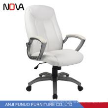 Nova White Executive Leather Ergonomic Staff Revolving Office Chair