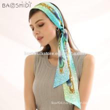 Double Sided Digital Print 100% Silk Head Ribbon Hair scarf Headband Bandana