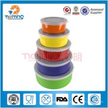 5pcs conjunto de tigela de salada de aço inoxidável colorido, conjunto de recipiente de armazenamento, caixa de mistura