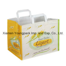 Printed White Kraft Flat Handle Paper Carrier Bag with Wide Gusset