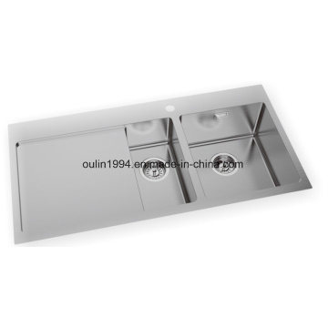 """39"""" Handmade Stainless Steel Kitchen Sink Double Bowl with Drainboard"""