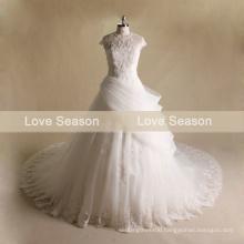 MRY070 Top quality keyhole back cap sleeve wedding organza fabric new style bridal wedding dresses high neck wedding dress