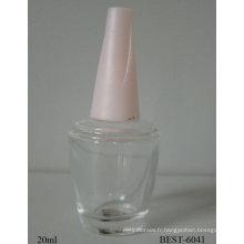 bouteille de vernis à ongles avec bouchon de bande de roulement à vis