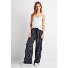 Striped Drawstring Slant Fronttaschen Wide Leg Hose