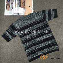 Short Sleeves Crew Collar Stripe Slit Sweater for Men