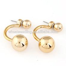 Vente en gros de boucles d'oreilles à boucles d'oreilles à double boule pour femmes