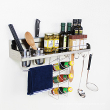 Popular Design Wall Mounted Kitchen Accessories  Stainless Steel Storage Spice Racks With Hooks GFR 348