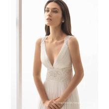 Fashion Beads Chiffon Bridal Evening Beach Wedding Dress (RS018)