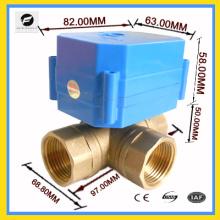 """Válvula de esfera de motor de latão de 3/4 """"de 3 vias T fluxo para equipamentos de automóveis sistema de água solar aquecedor de água"""