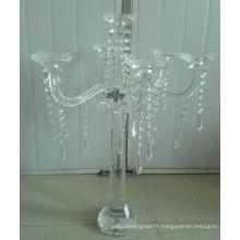 Bougeoir en cristal pour décoration de mariage avec sept affiches