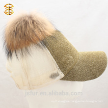 Wholesale Real Raccoon Fur Pom Pom Sport Baseball Cap