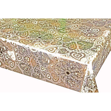 Doble cara en relieve estampado oro plata mantel barato