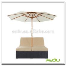 Audu Aluminum Wicker Double Chaise Lounge Outdoor