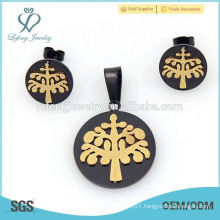 Cool fashion style black and gold cushion cut engagement jewelry sets hot selling