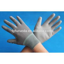 Graue PU-beschichtete Polyester-Arbeitshandschuhe aus Porzellan