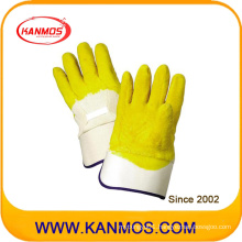 Industrial Safety Yellow Latex Coated Carvin Cuff Work Glove (52002)
