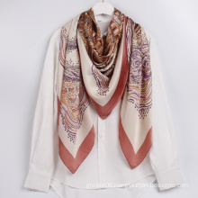 Wholesale High Quality Satin Scarves Luxury Style Castle pattern Printed Shawl Scarf