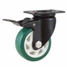 Med -Duty Type Roulement à billes double Type de frein Roulette de roue PU verte (KHMX4-MH1)
