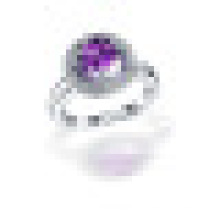 Big Round 3 Prong 1.0CT Cubic Cut Natural Purple Amethyst Rings 925 Sterling Silver for Women Engagement Fine Jewelry