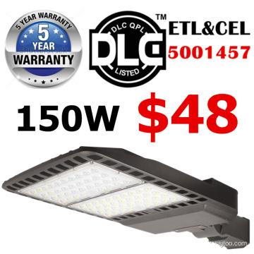 затемняемый светодиодная Лампа уличного света 100W ул DLC 5 лет гарантии серебряный корпус