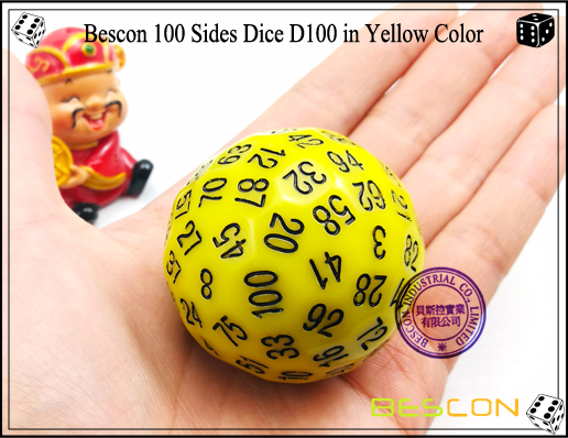 Bescon 100 Sides Dice D100 in Yellow Color-2