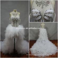Настоящий Made картины бисером на заказ вечернее платье vestidos де Новия BW099 платье с коротким передним и длинным шлейфом