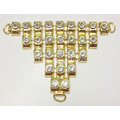 Gold Metal Trim Lady Diamante Sandali V Forma Trim