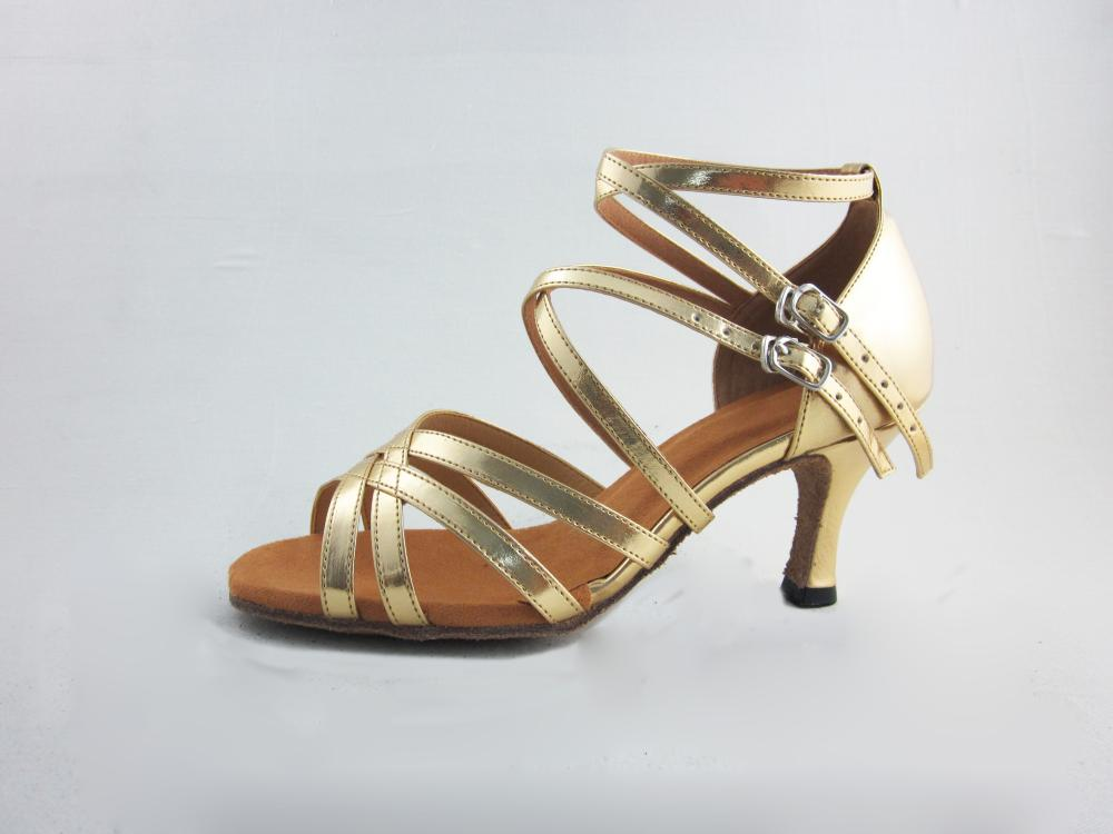 Gold Pu Salsa Shoes