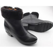 Schwarze Frauen Stiefel Flache Stiefel mit Fell Innen