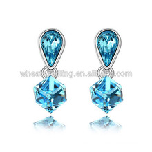 Glitter Elegant Austrian Square Hanging crystal earrings costume fashion jewelry china