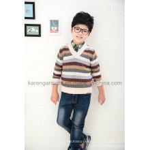Pull en laine à rayures à motif v-cou pour enfants