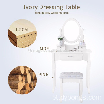 living room furniture Vanity Makeup Table Set 1/3 Drawers Dressing Table with Stool White