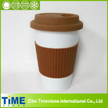 Wiederverwendbare Take Away Kaffeetasse aus Porzellan mit Ärmeln (15032802)