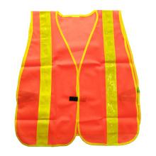 Luva de segurança em malha laranja fluorescente com fita prismática