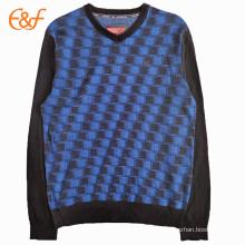 Suéter de cuello en V Cashmere suéter diseños para hombres
