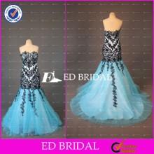 ED Bridal Elegant Mermaid Lace Appliqued Sweetheart Neckline Zipper Sky Blue Tulle Long Evening Gown Design