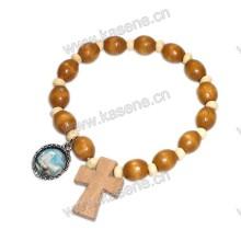 Ellipse Holz Perlen Elastische Armband mit Holz Kreuz Metall Medaille