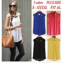 Мода Повседневная Женская Рубашка Без Рукавов Женщин Блузка (66320)