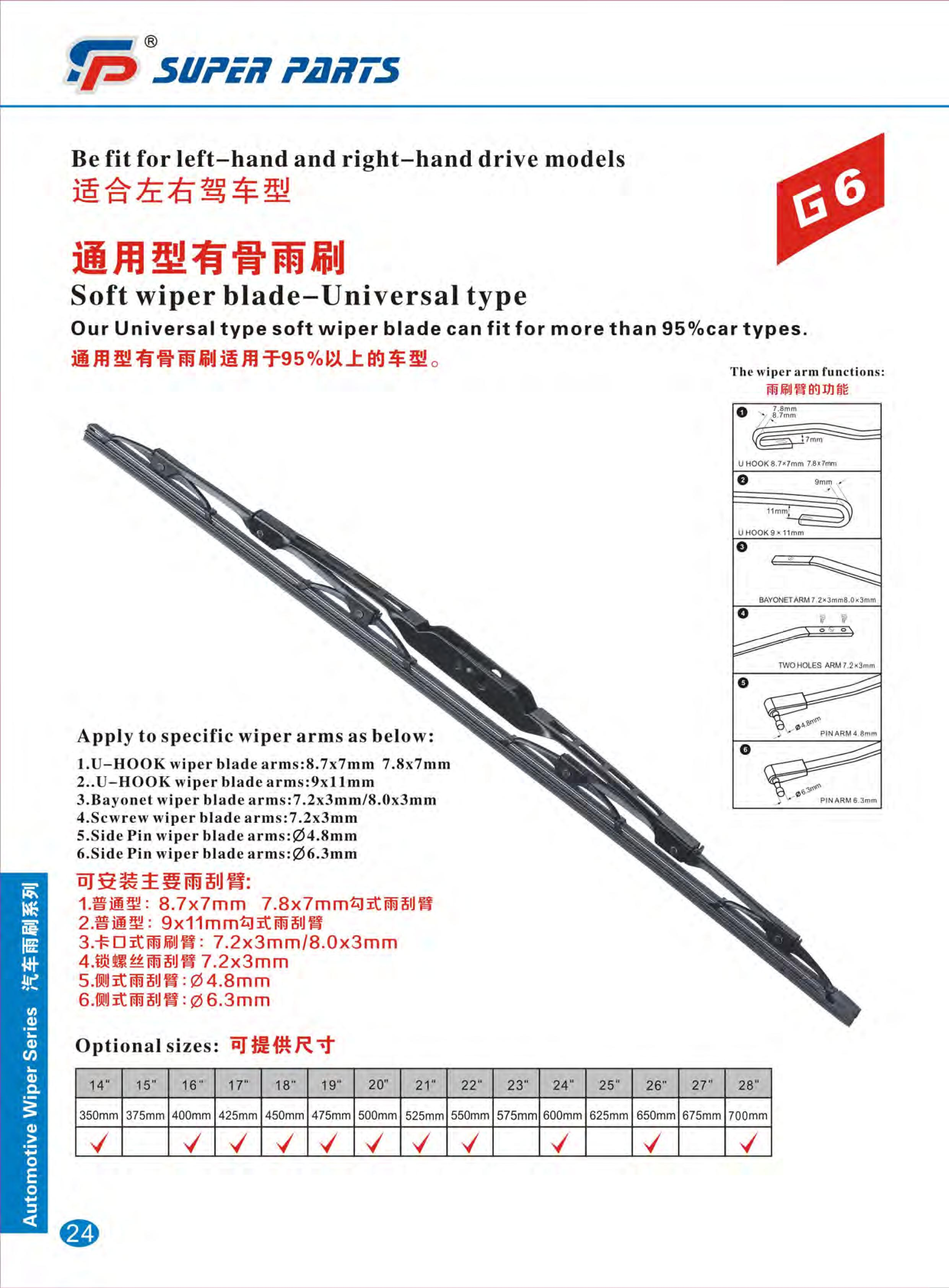 wiper blade sizes