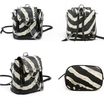 Personality punk contrast color multifunction mini backpack