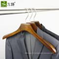 Logo personnalisé de cintre de vêtements en bois crochet de magasin de vêtements pour hommes