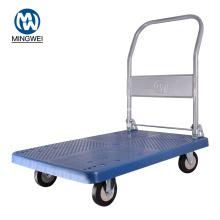 Blue Foldable Platform Trolley Cart