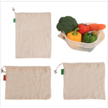 Eco friendly cotton reusable mesh produce string bags pack with drawstring for grocery shopping fruit vegetable potato gift