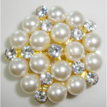 Hot-Sell Rose Gold Alloy Lady Shoe Clips with Pearl Style