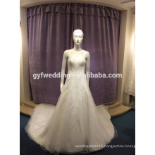 2017 new luxury handmade beaded long dress Ivory wedding in China made HL-10009
