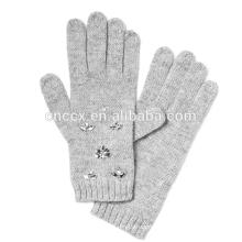 PK17ST020 Italian Merino Wool Blend Lady Fashion Winter Glove With Crystal Bead